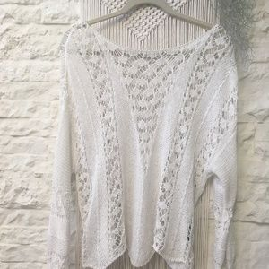 Zara white lace crochet top
